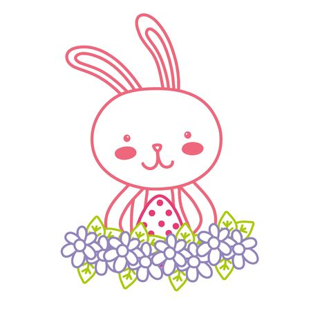 neon line rabbit animal with egg easter with flowers vector illustration