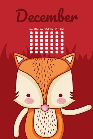 Cute fox calendar cartoon vector illustration graphic design