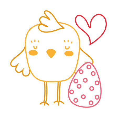 neon line chick with egg easter decoration holiday vector illustration Illustration