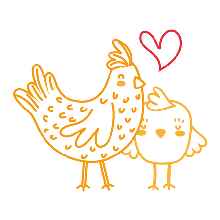 neon line hen and chick love and family together vector illustration