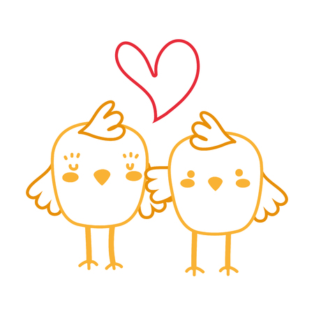 neon line chicks couple together and love heart vector illustration Stock Illustratie
