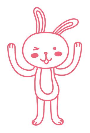 neon line rabbit cartoon animal with hands up vector illustration