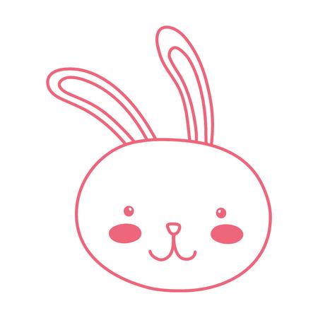 neon line happy rabbit head animal character vector illustration 일러스트