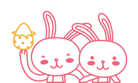 neon line happy rabbit couple together with egg easter vector illustration