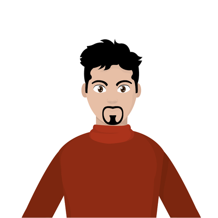 Avatar man with red shirt and nice hairstyle