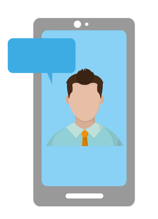 user man faceless inside smartphone with chat bubble vector illustration
