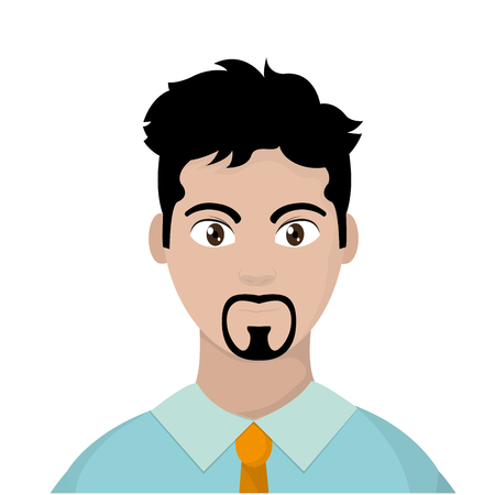 user man with elegant shirt and hair vector illustration