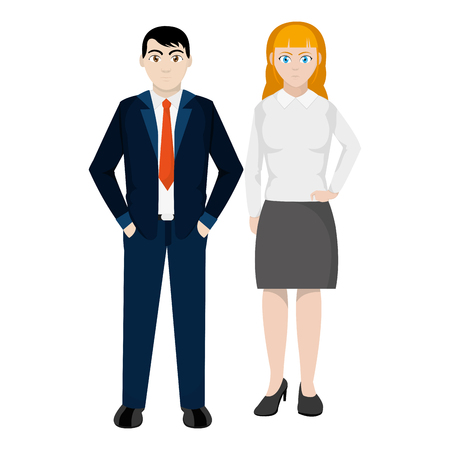 businesspeople with elegant clothes and hairstyle design vector illustration
