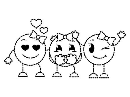 dotted shape cute emoji friends with faces expression vector illustration Illustration