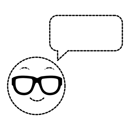 dotted shape emoji cool face with chat bubble vector illustration