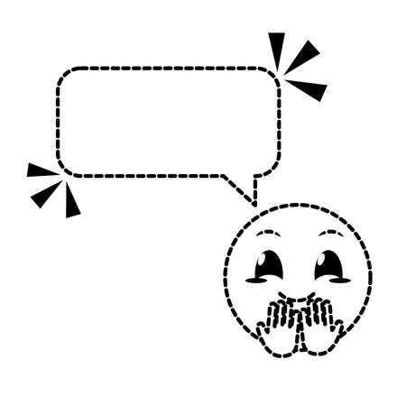 Dotted cute smiley with chat bubble Illustration
