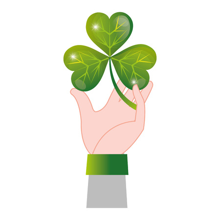 hand man with clover plant and leaves Illustration