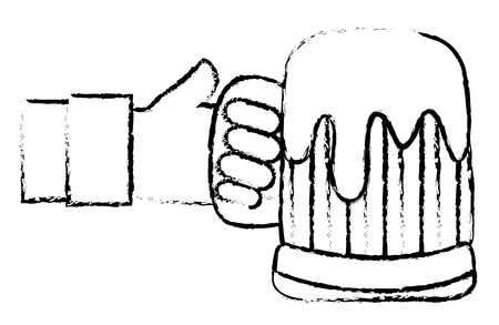 Grunge hand man with beer alcohol glass. Illustration