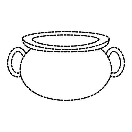 Dotted shape pot cauldron to traditional object to cooking.