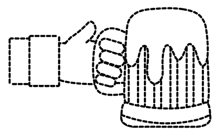 Hand with glass of beer dotted line illustration.