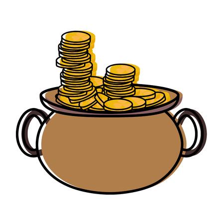 moved color gold coins money inside pot cauldron