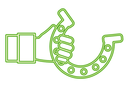 neon line hand man with metal horseshoe design Illustration