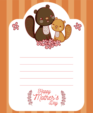 Happy mother's day card with cute animals cartoons