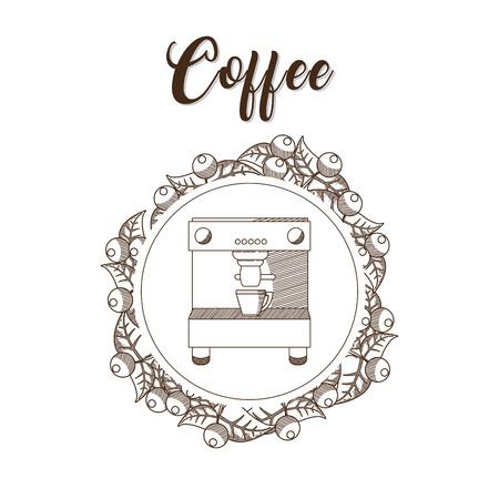 Coffee maker hand draw Stock Illustratie