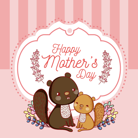 Happy mother's day card with cute beavers cartoons vector illustration graphic design