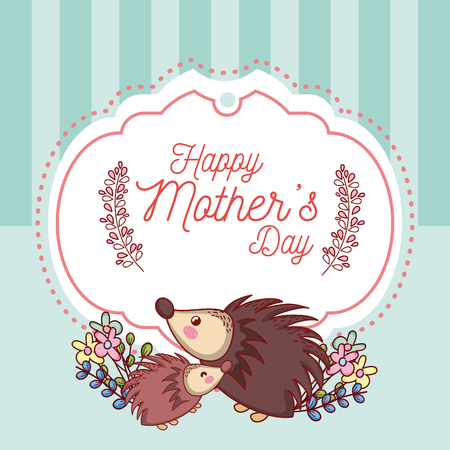 Happy mother's day card with cute animals cartoons vector illustration graphic design Vectores