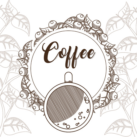 Coffee cup with round frame beans design Illustration