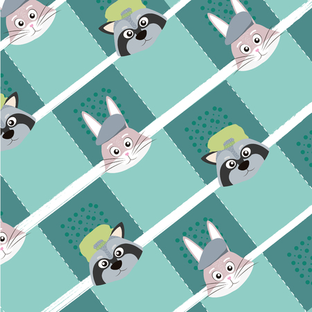 Cute rabbit and raccoon pattern background vector illustration graphic design