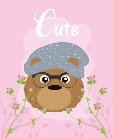 Cute hipster bear cartoon vector illustration graphic design Illustration