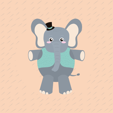 elephant with elegant clothes cartoon vector illustration graphic design Illustration
