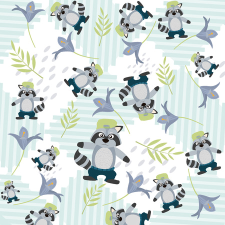 Cute animals pattern background Ilustração