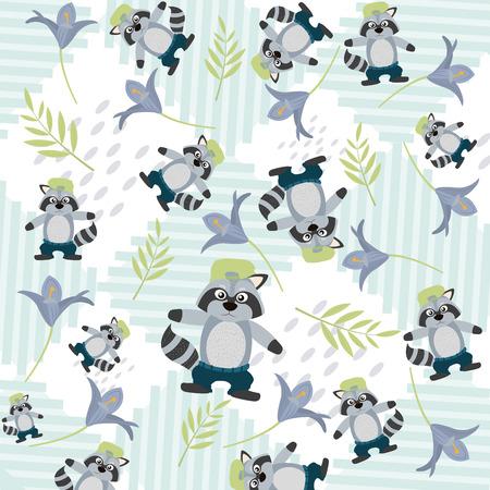 Cute animals pattern background Illustration
