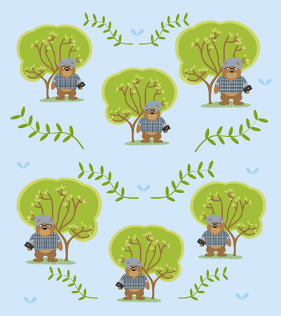 Cute and funny animals background pattern Illustration