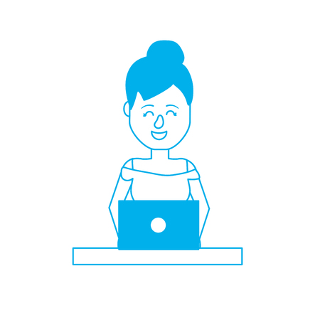 Silhouette professional businesswoman with laptop and corporate job Illustration