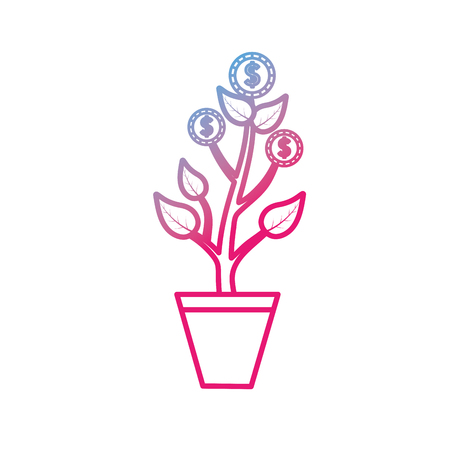 Line coins plant and cash money currency  イラスト・ベクター素材