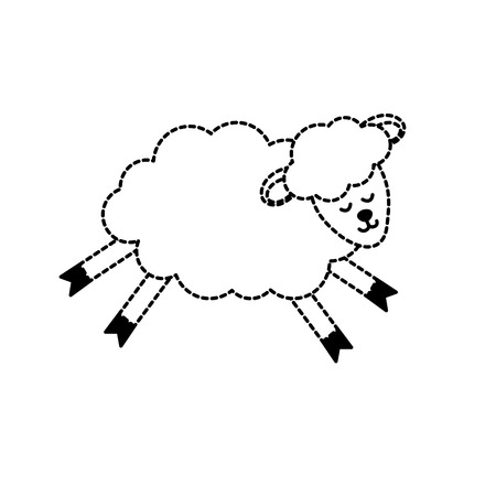 Dotted shape cute sheep animal with wool design