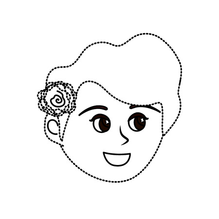 Dotted shape avatar woman face with hairstyle design