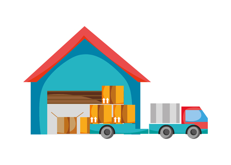 Hand drawn delivery store with truck and packages service