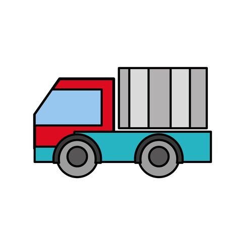 Hand drawn line color truck Illustration