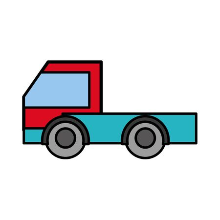 Hand drawn line color industry truck