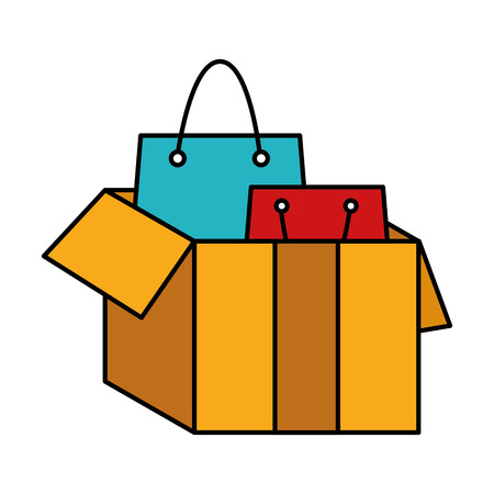 Hand drawn line color shopping bags inside open box package Illustration