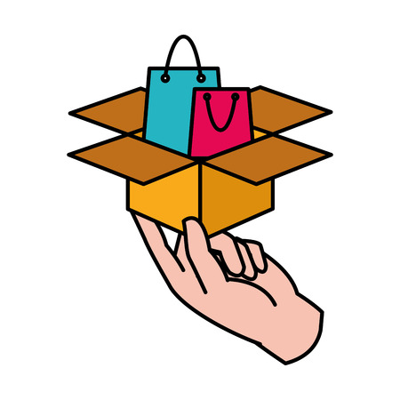 line color hand with shoping bag inside box package