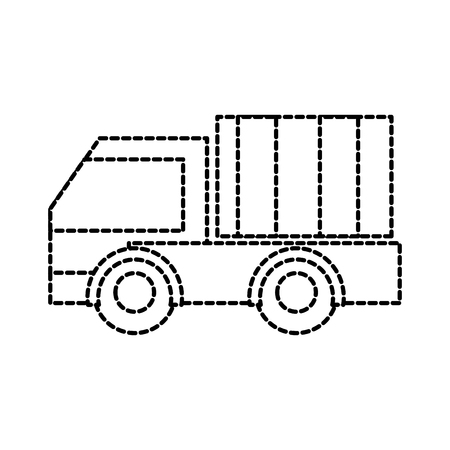 Dotted shape truck vehicle transportation to business delivery