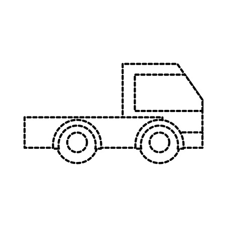 Dotted shape industry truck vehicle transportation car