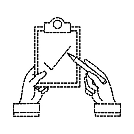 Dotted shape man hands with pen and check list document