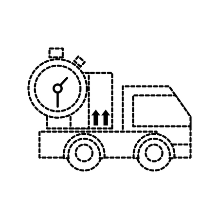 dotted shape truck transport with box package and chronometer Vectores