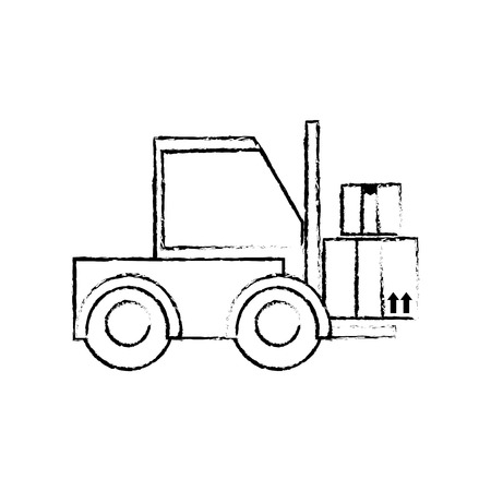 grunge forklift transport with boxes package service