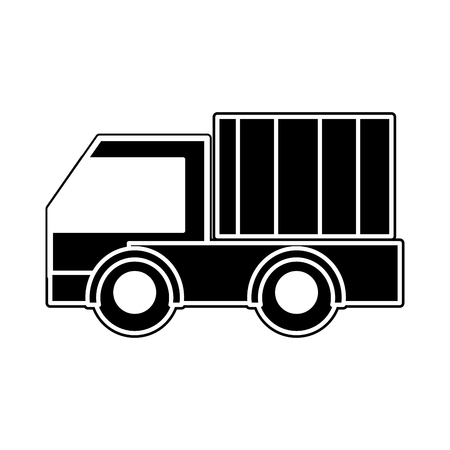 Silhouette of truck vehicle transportation to business delivery Illustration