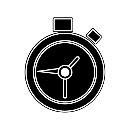 silhouette chronometer object to control time countdown Vector illustration.