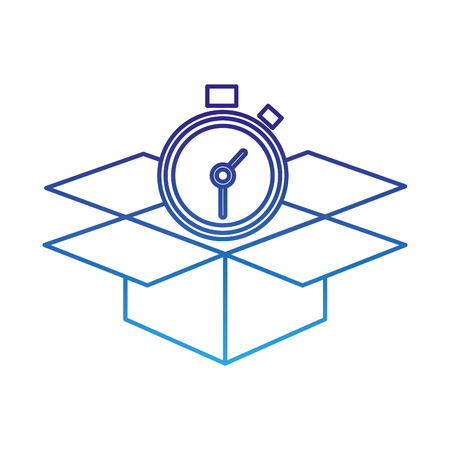 degraded line open box package service with chronometer vector illustration