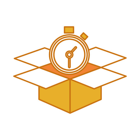 Colored open box package service with chronometer Illustration